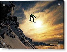 Sunset Snowboarding Acrylic Print