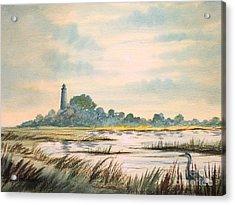 Sunset - St Marks Lighthouse Florida Acrylic Print by Bill Holkham