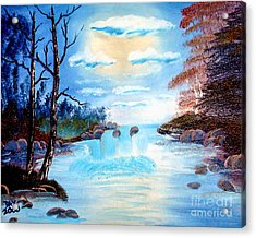 Sunset Stream Acrylic Print by Dave Atkins