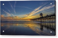 Acrylic Print featuring the photograph Sunset Surf by Sean Foster