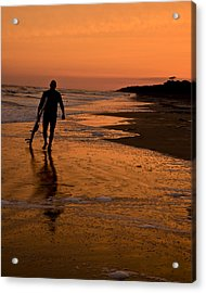Sunset Surfer Hilton Head Sc Acrylic Print by Sally Ross