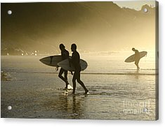 Sunset Surfers Biarritz Acrylic Print by Perry Van Munster