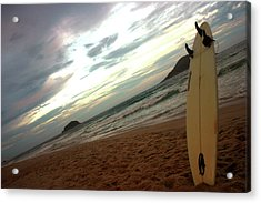 Sunset Surfing  Acrylic Print by Frederico Borges