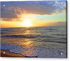 Sunset Acrylic Print by Ute Posegga-Rudel