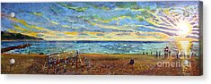 Sunset Volleyball At Old Silver Beach Acrylic Print by Rita Brown