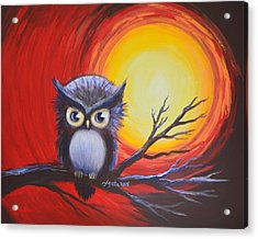 Acrylic Print featuring the painting Sunset Vortex With Owl by Agata Lindquist