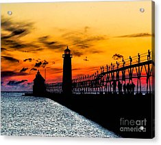Sunset Walking On Grand Haven Pier Acrylic Print by Nick Zelinsky