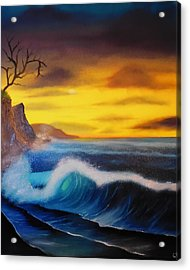 Sunset Wave Acrylic Print by Charles Eagle