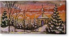 Sunset Winter Church Acrylic Print by Gretchen Allen