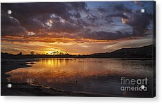 Sunset With Clouds Over Malibu Beach Lagoon Estuary Acrylic Print by Jerry Cowart