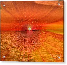 Sunset With Flower By Saribelle Rodriguez Acrylic Print by Saribelle Rodriguez