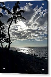 Sunset With Palm Trees Acrylic Print by Pamela Walton