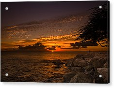 Sunset With The Fisherman Acrylic Print by Tin Lung Chao