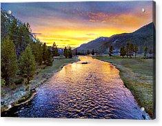 Sunset Yellowstone National Park Madison River Acrylic Print