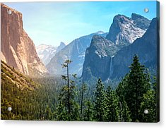 Sunset's Golden Light Moves Across Yosemite Valley's Waterfalls Acrylic Print by Laura Palmer