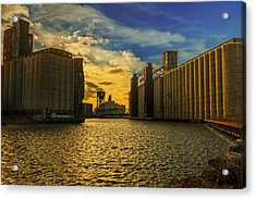 Sunsets On A River Through An Industrial Canyon Acrylic Print