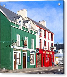 Sunshine On The Pubs In Dingle Ireland Acrylic Print