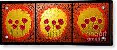 Sunshine Poppies - Abstract Oil Painting Original Metallic Gold Textured Modern Contemporary Art Acrylic Print by Emma Lambert
