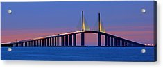 Sunshine Skyway At Dusk II Acrylic Print by Daniel Woodrum