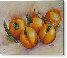 Sunstruck Peaches Acrylic Print by Tracy Male