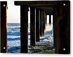 Sunwash At St. Johns Pier Acrylic Print by Anthony Baatz