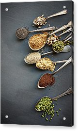Super Food Grains On Spoons Acrylic Print by Lew Robertson
