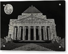 Super Moon Behind Shrine Of Remembrance  Acrylic Print by Kim Andelkovic