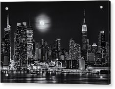 Super Moon Over Nyc Bw Acrylic Print by Susan Candelario