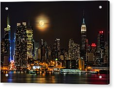 Super Moon Over Nyc Acrylic Print by Susan Candelario