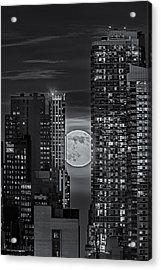 Super Moon Rises Over The Big Apple Bw Acrylic Print by Susan Candelario