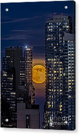 Super Moon Rises Over The Big Apple Acrylic Print by Susan Candelario