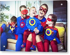 Superhero Family Laughing On Sofa Acrylic Print by Robert Daly