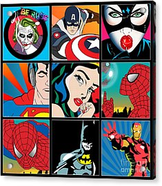 Superheroes Acrylic Print by Mark Ashkenazi