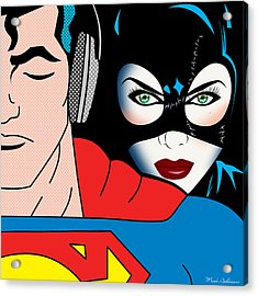 Superman And Catwoman  Acrylic Print by Mark Ashkenazi