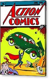 Superman Comic Book -1938 Acrylic Print by Doc Braham