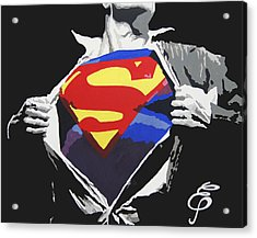 Superman Acrylic Print by Erik Pinto