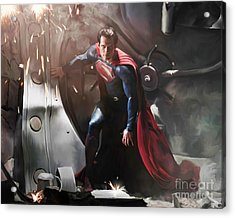 Superman Acrylic Print by Paul Tagliamonte