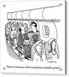 Superman Sits In A Plane Next To A Businessman Acrylic Print by Joe Dator