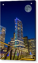 Supermoon Over Downtown Vancouver - By Sabine Edrissi Acrylic Print