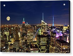 Supermoon Over Manhattan Acrylic Print by Lee Dos Santos