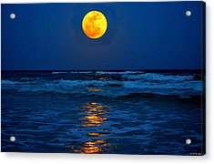Supermoon Rising On Navarre Beach 20120505c Acrylic Print by Jeff at JSJ Photography