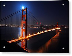 Supermoon Shining On Top Of The Golden Gate Bridge Acrylic Print