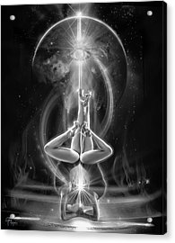 Supernova Twins With Moon Bw Acrylic Print by Glenn Feron