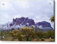 Superstition Mountain Snow Acrylic Print