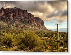 Superstition Mountains  Acrylic Print by Saija  Lehtonen