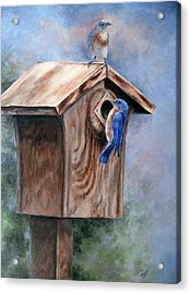 Supervised Feeding Acrylic Print by Mary McCullah