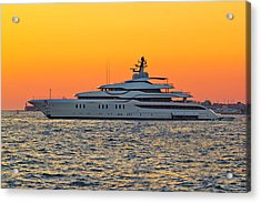 Superyacht On Yellow Sunset View Acrylic Print