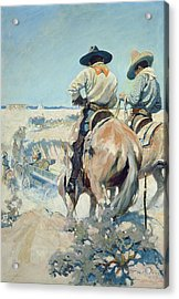 Supply Wagons Acrylic Print by Newell Convers Wyeth