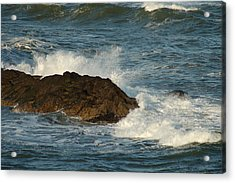 Acrylic Print featuring the photograph Surf And Rocks by Ron Roberts