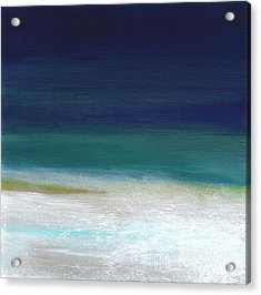 Surf And Sky- Abstract Beach Painting Acrylic Print by Linda Woods